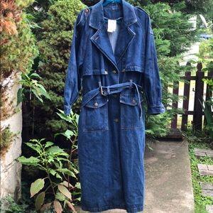 Vintage dark blue denim duster trench coat, 16